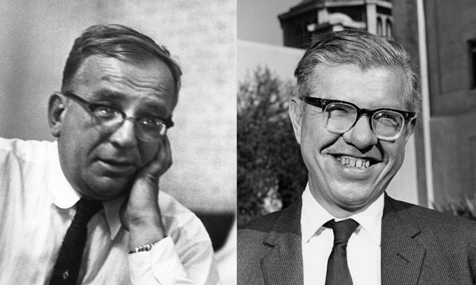 immagini in bianco e nero di George Gamow e Fred Hoyle