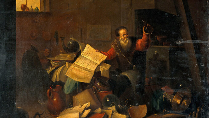 A 17th century painting of an alchemist