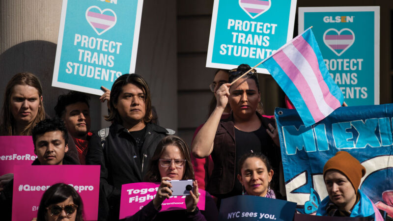 people hold posters and flags in support of transgender people