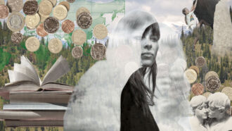 image collage of a woman looking pensively off into the distance surrounded by money, books, a rock climber, mountains and a statue couple