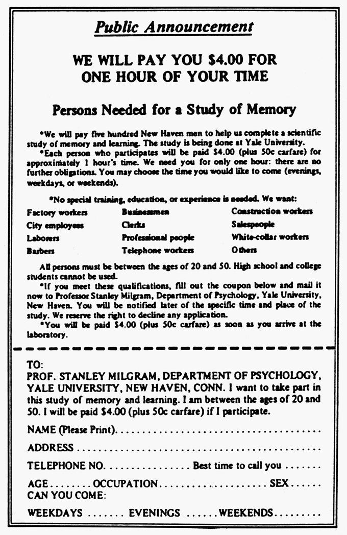 Milgram ad