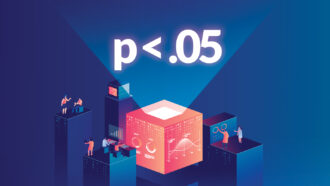 illustration of the letter p with a less than symbol and .05 above scientists doing various calculations