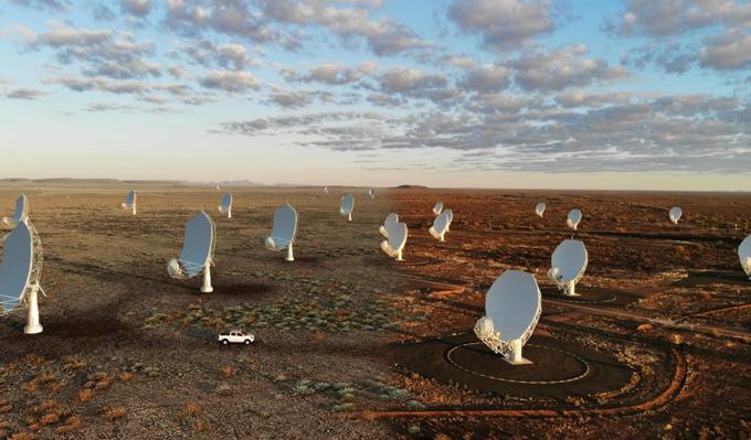 rows of radio telescopes at the Square Kilometer Array