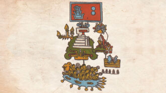 pictogram showing an earthquake and warriors in a river