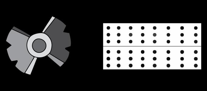 pictogramme représentant un œil central suivi d'un signe plus et d'un pictogramme représentant une boîte avec des points