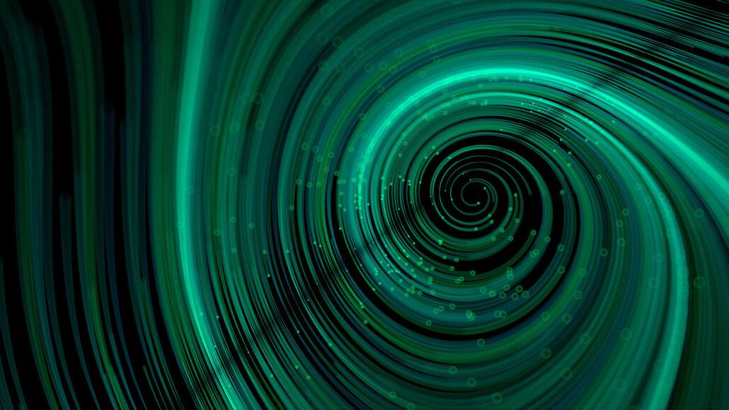 raggio verde-bluastro che forma una spirale