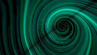 bluish-green beam forming a spiral