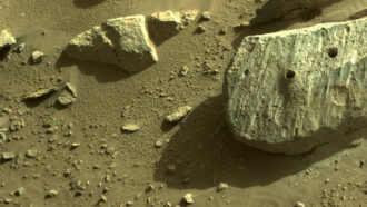 rocks on Mars with drilled holes from NASA's Perseverance rover