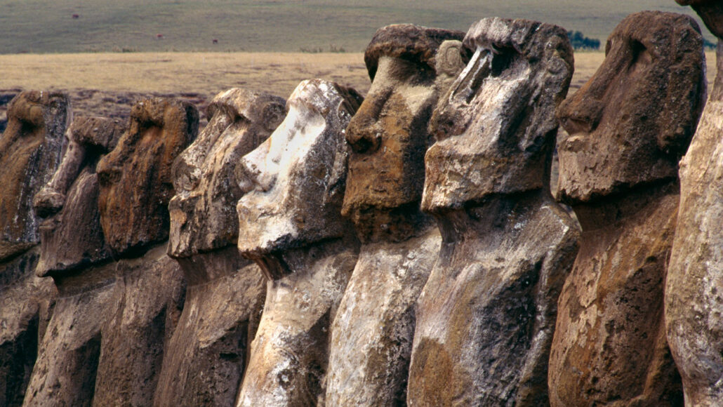 image of a row of statues on Easter Island