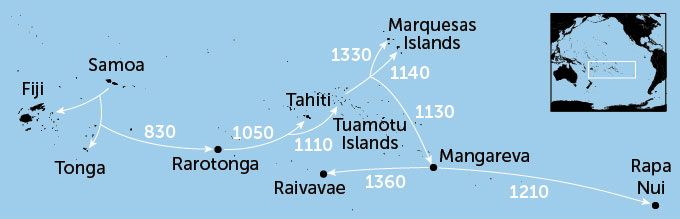 map showing when different segments of Polynesian migration across the Pacific ocean happened