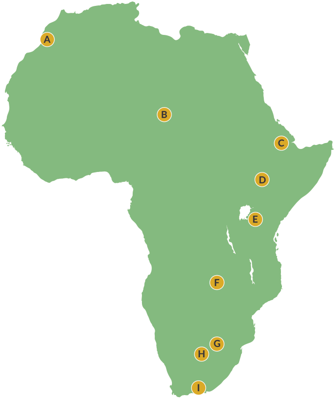 map of Africa with locator dots labeled A-I