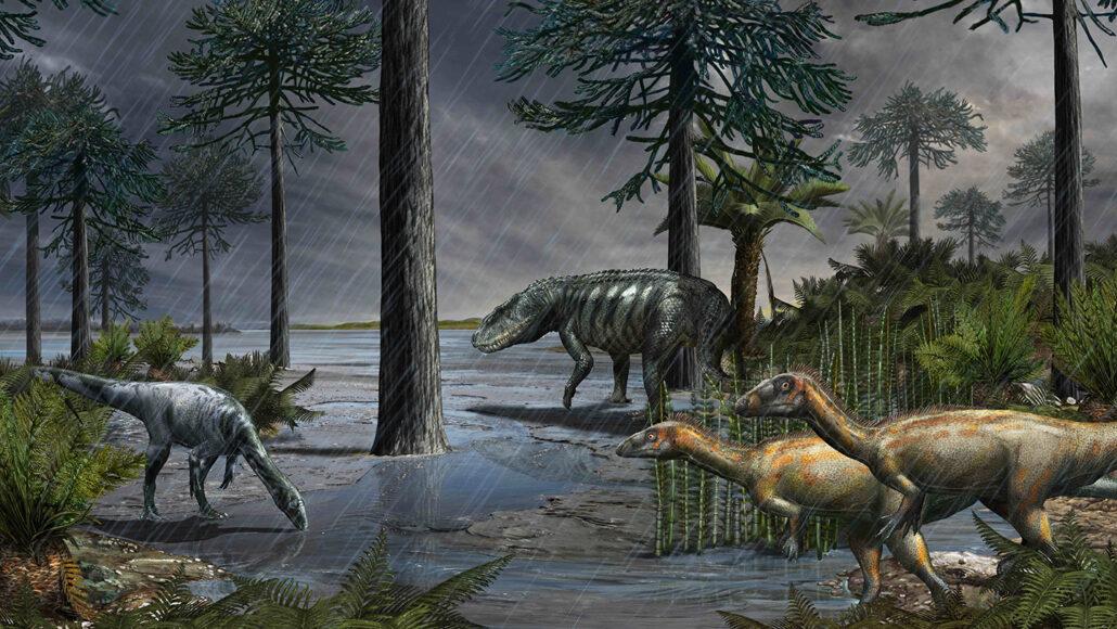 illustratie van verschillende soorten dinosaurussen die een habitat verkennen met een meer en bomen te midden van regen