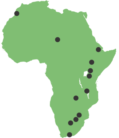 Map of discovery locations in Africa