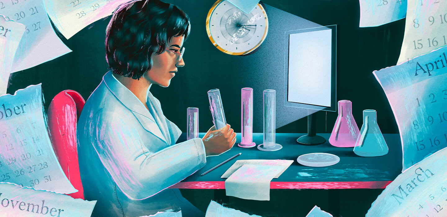illustration of a female scientist working in a lab surrounded by calendar sheets with the names of different months