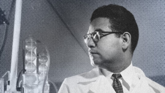 black and white image of Luis Miramontes in a lab coat