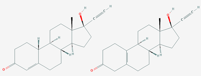 chemical structures of norethindrone and norethynodrel