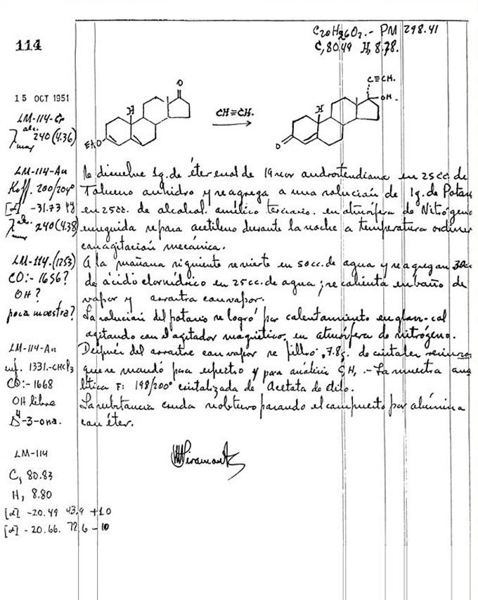 zwart-wit afbeelding van een pagina uit Luis Miramontes' lab-notebook waarin de synthesestappen worden beschreven