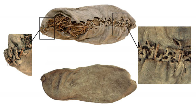 composite image of 5,500-year-old shoe, with close-ups on laces and heel