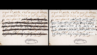 image of a letter written by Marie Antoinette with a blacked out section next to an image of the same letter where the blacked out section is visible