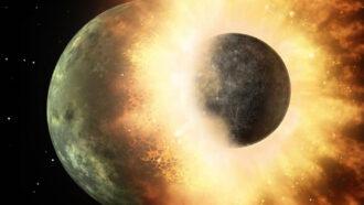 illustration of planets colliding