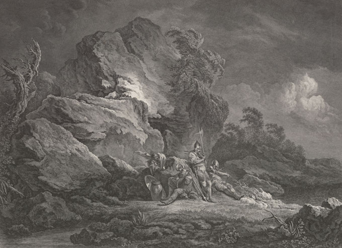 A 1778 engraving of four Swiss mercenaries in the mountains