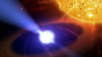 illustration of a white dwarf star and a red dwarf star in the binary star system AE Aquarii