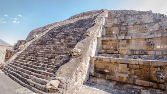 Temple of the Feathered Serpent against a sunny backdrop