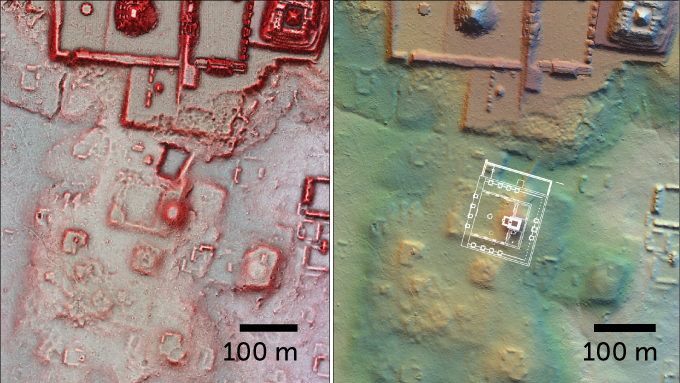 Two lidar images of the newfound Teotihuacan-style plaza and pyramid at Tikal. Right half shows an overlay, at 30 percent size, of Teotihuacan Ciudadela on the Tikal structures, showing similarity in orientation, platforms and pyramid