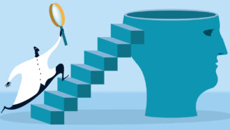 illustration of a scientist holding a magnifying glass running up stairs